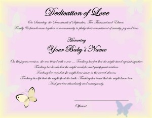 Baby Blessing Certificate BABY GIRL